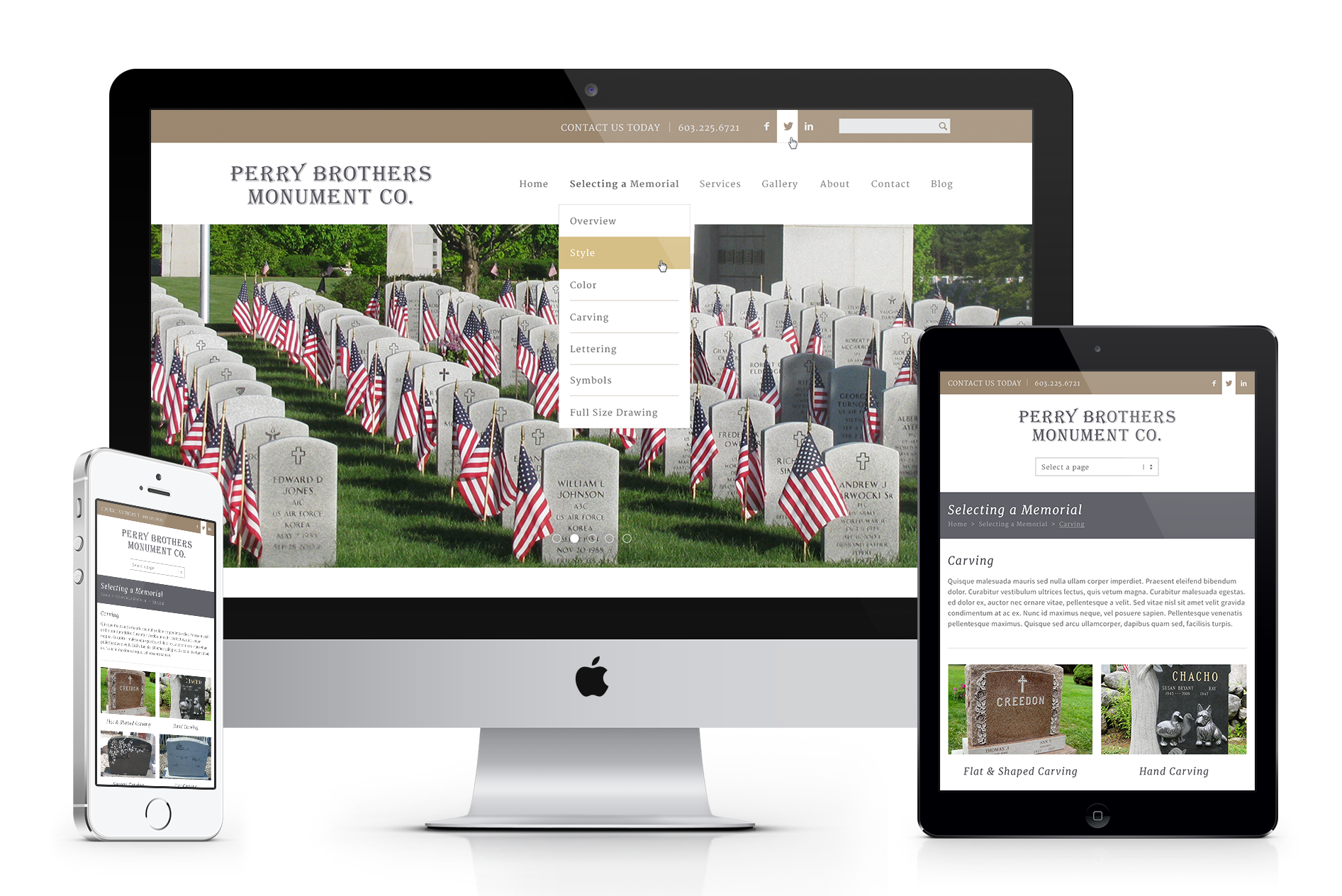 Perry Brothers Monument Co. Website Design